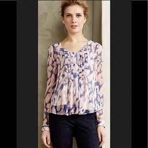 MAEVE Silk Blouse Painted Pink Purple Pin Tucked